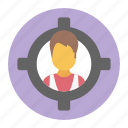 customer target, focus person, target audience, target user, user focus icon