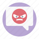 angry message, comments, communication, forum discussion, rude chatting icon