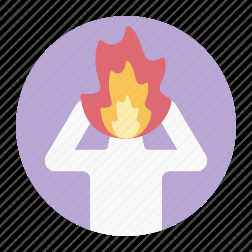 employment stress, mind burnout, occupational burnout, professional burnout, stressful person icon