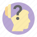 brain question, confused brain, confused person, philosopher, thinker icon