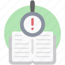 book inspection, book review, book search, information search, search data icon