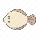 beach, flatfish, plaice, seafood, seaside, travel, vacations icon