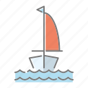 beach, sailboat, sailing, sea, seaside, travel, vacations icon