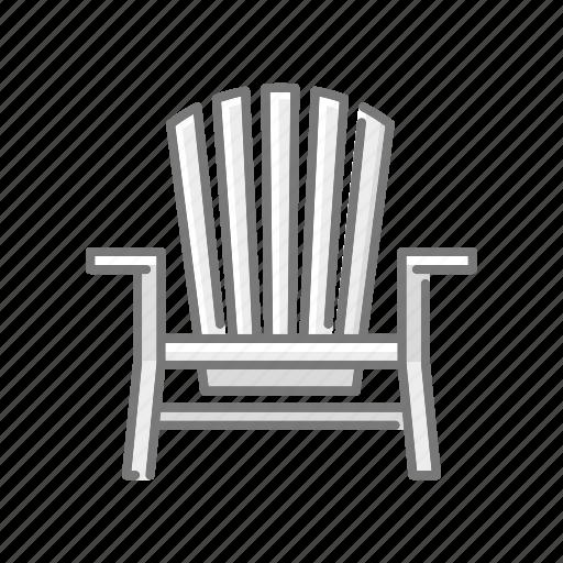 adirondack chair, beach, chair, deckchair, seaside, travel, vacations icon