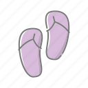 beach, beach sandals, flip-flops, footwear, seaside, travel, vacations icon