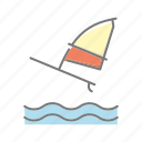 beach, seaside, surf board, travel, vacations, waves, windsurfing icon