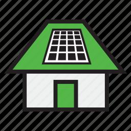 green, home, module, panel, power, solar, solar house icon