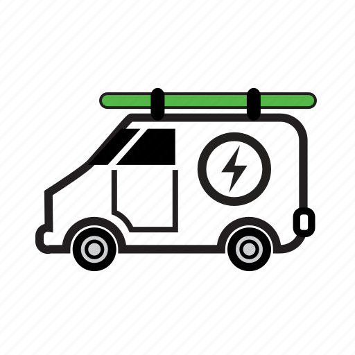 electrician, power, service, solar, technician, van, vehicle icon