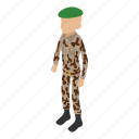 army, beret, camouflage, green, isometric, military, object