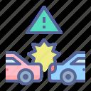 accident, car, collision, crash, mishap, vehicle icon