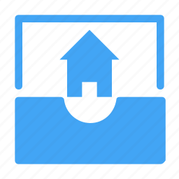 building, email, envelope, home, house, interior, property icon