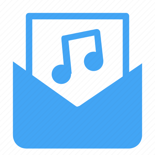 audio, email, letter, mail, message, multimedia, music icon
