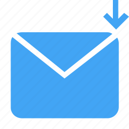 communication, down, download, letter, mail, message icon