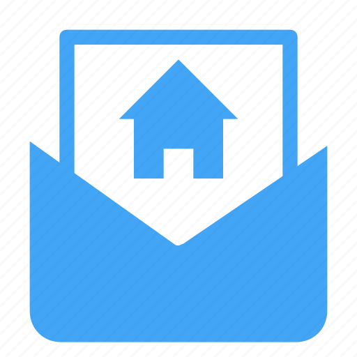 communication, document, email, house, letter, mail, message icon