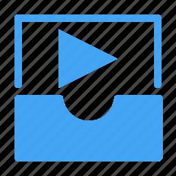 inbox, media, movie, multimedia, music, play, video icon