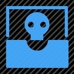 communication, dead, email, envelope, inbox, skeleton, skull icon