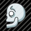 bone, docto, head, horror, physician, side, skull