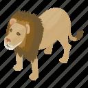 africa, animal, isometric, lion, logo, object, zoo