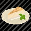 bake, bakery, cake, coconut, isometric, logo, object