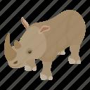 africa, african, animal, isometric, logo, object, rhinoceros