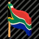 african, civil, flag, isometric, logo, object, republic