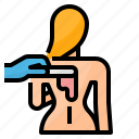 back, hair, removal, wax icon
