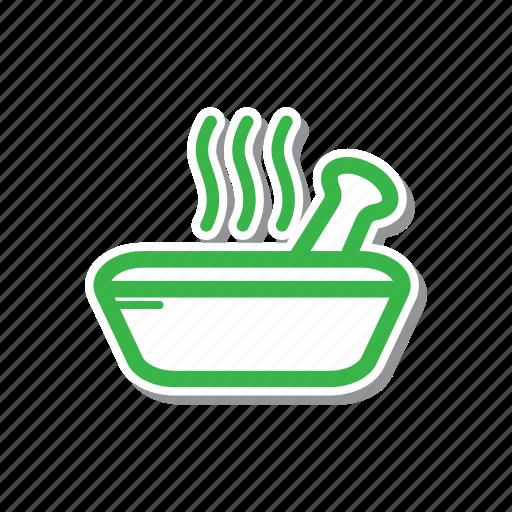 cartoon, illustration, line, spa, spa bowl, thin, thin line icon