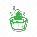 cartoon, illustration, line, soaking, spa, thin, thin line icon