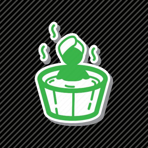 cartoon, illustration, line, soaking, spa, thin, thin line icon