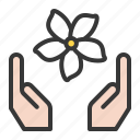 flora, floral, flower, hand, jasmine, spa icon