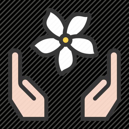 flora, floral, flower, hand, jasmine, spa icon