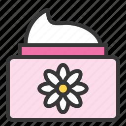 cosmetic jar, floral, jar, lotion, spa icon