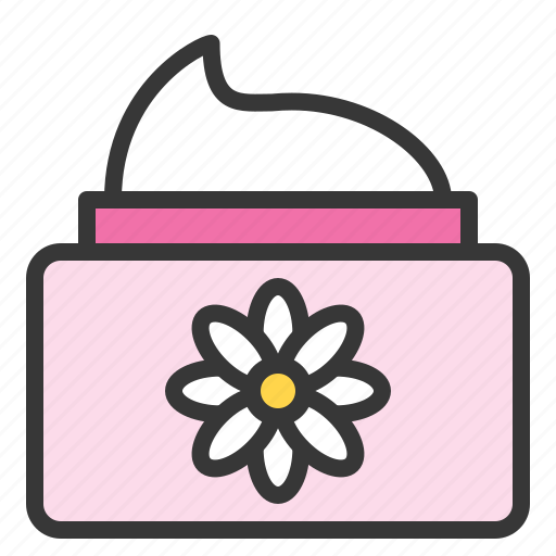 cosmetic jar, floral, jar, lotion, spa icon
