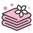 jasmine, spa, towel icon