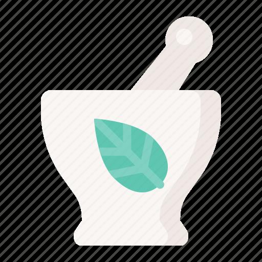 herbs, mortar, spa, utensil icon