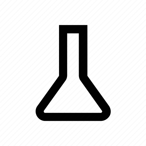 conical flask, elementary flask, erlenmeyer flask, lab equipments, lab flask, lab glassware, lab supplies icon