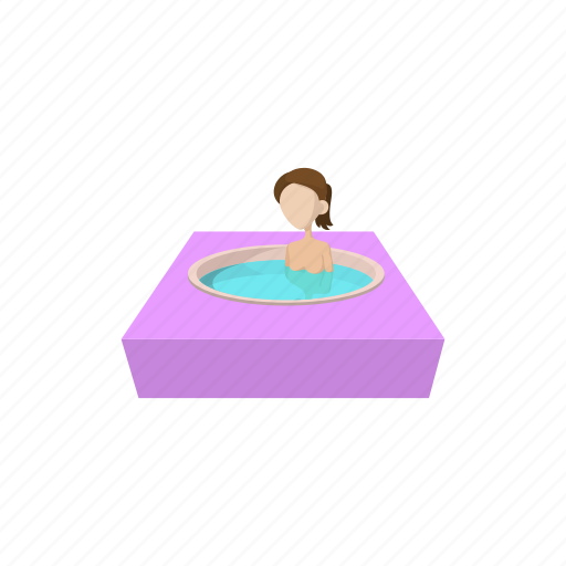 cartoon, female, hot, relax, spa, water, woman icon