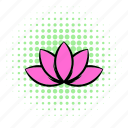 comics, floral, flower, lotus, nature, petal, silhouette icon