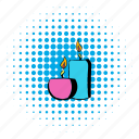 candle, comics, flame, health, relaxation, spa, therapy icon