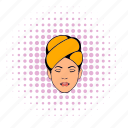 beauty, care, comics, face, head, skin, towel icon