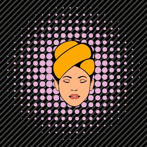 beauty, care, comics, face, head, skin, towel icon