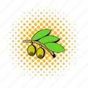 comics, food, healthy, ingredient, mediterranean, oil, olive icon