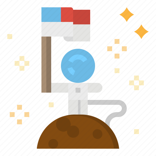 conquer, discovery, flag, moon, space icon