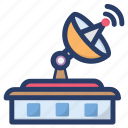 broadcasting, communication, connection, power house, satellite antenna, satellite dish, satellite house icon