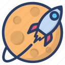 planetary system, scapecraft, science equipment, space rocket, spaceship icon