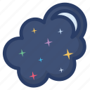 crescent moon, half moon, nature, night view, overcast, weather forecast icon