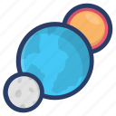 astrology, astronomy, galaxy, planetary system, planets, space icon