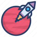 astronomy, planetary system, rocket launch, scapecraft, science equipment, space, spaceship icon