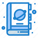 book, fiction, planet, science, space icon