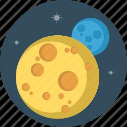 moon, planet, stars icon